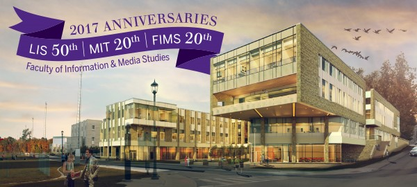A banner showing the new FIMS building with the words 2017 Anniversaries
