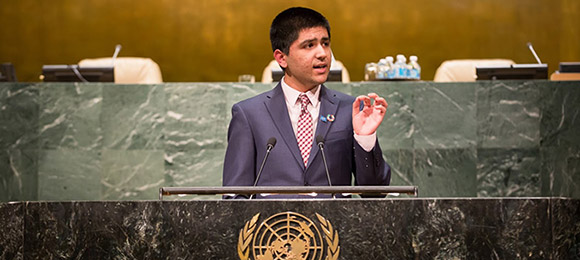 Student speaking at the UN's Youth Counsel