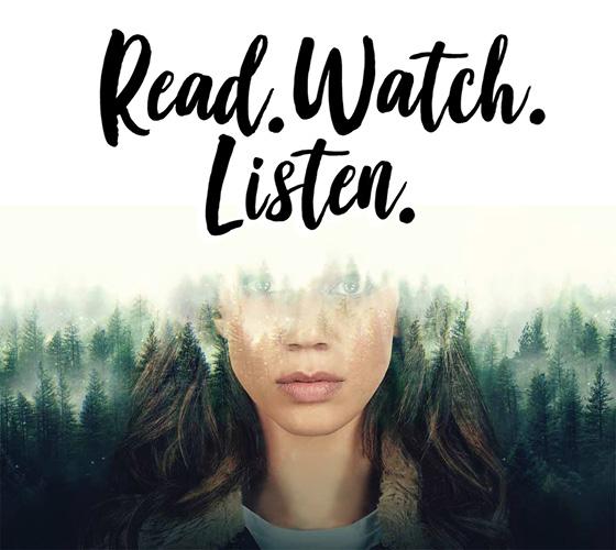 Read. Watch. Listen. plus image of woman