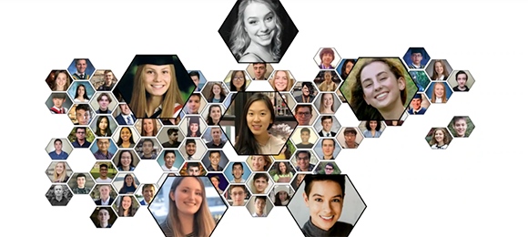 Photos of Schulich Leaders arranged in a honeycomb pattern.